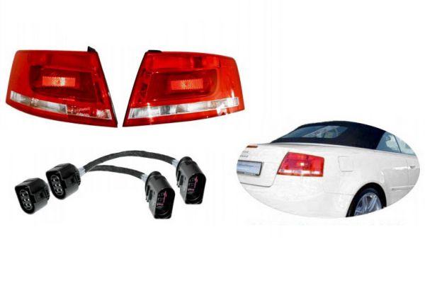 36532 - Facelift Heckleuchten LED für Audi A4 8H Cabrio + Adapter