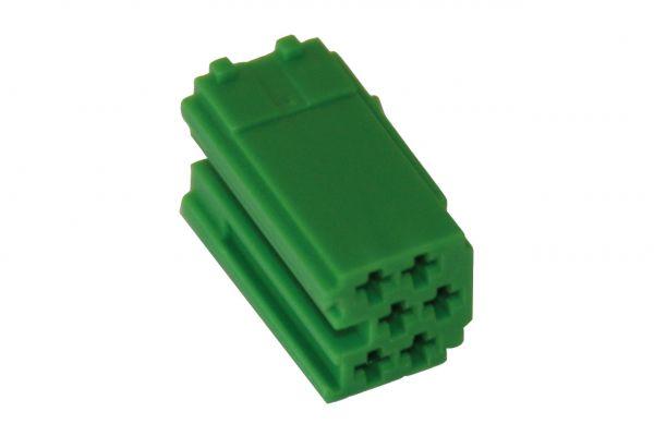35474 - MINI ISO Steckergehäuse 6-polig grün, 10 Stück
